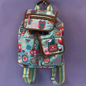Lily Bloom Owl Floral Hobo Travel Book Backpack